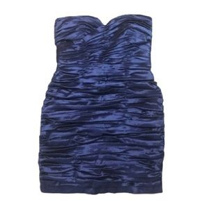 Calvin Klein Ruched Metallic Blue Strapless Dress